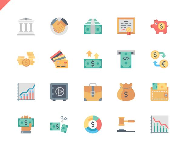 Conjunto simples Finanças plana ícones para o site e aplicativos móveis. 48x48 Pixel Perfeito. Ilustração vetorial.