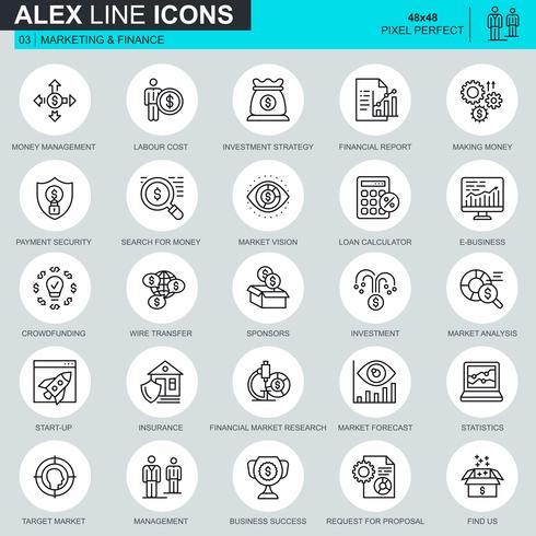 Thin line marketing et finance icônes définies pour site Web et site mobile et applications. Contient des icônes telles que le financement participatif, le marché et les affaires électroniques. 48x48 Pixel Parfait. AVC modifiable. Illustration vectorielle