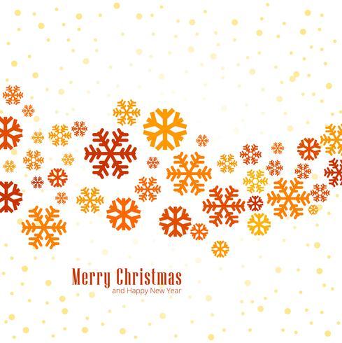 Copos de nieve coloridos elegantes decorativos feliz navidad backgroun