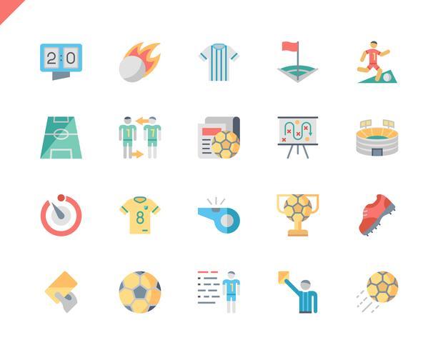 Enkel uppsättning fotbollsplattformar för webbplats- och mobilapps. 48x48 Pixel Perfect. Vektor illustration.
