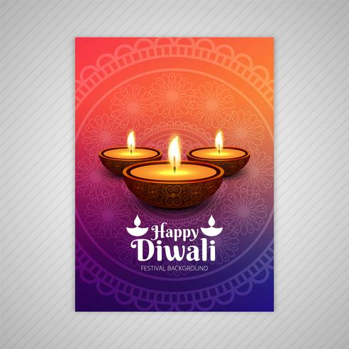 Plakat mit einem diya für diwali buntes Fliegerschablonendesign