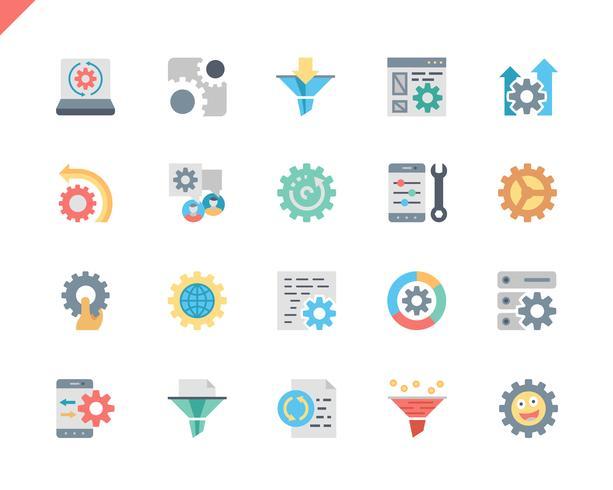 Sencillo conjunto de iconos de procesamiento de datos planos para sitio web y aplicaciones móviles. 48x48 Pixel Perfect. Ilustracion vectorial vector