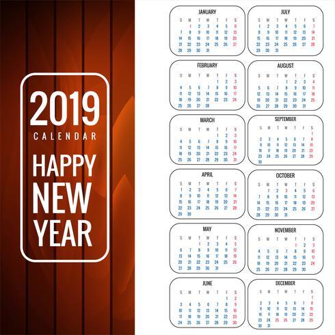 Plantilla calendario 2019 con fondo de textura de madera