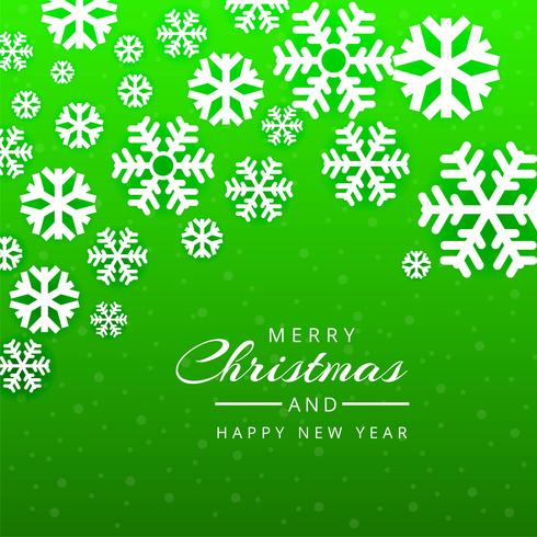 Merry christmas greeting card green snowflakes background