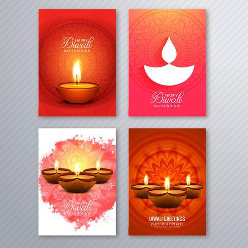 Cartel con un diya para la colección de plantillas de volantes coloridos diwali
