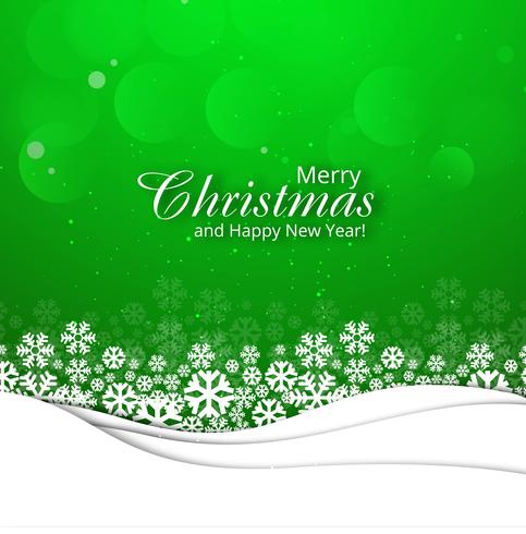 Merry christmas greeting card with snowflake green background