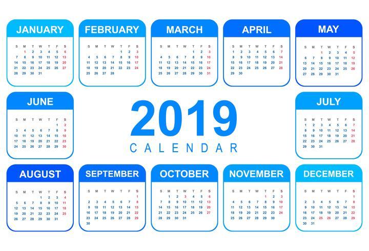 Elegante calendario colorido diseño de plantilla 2019