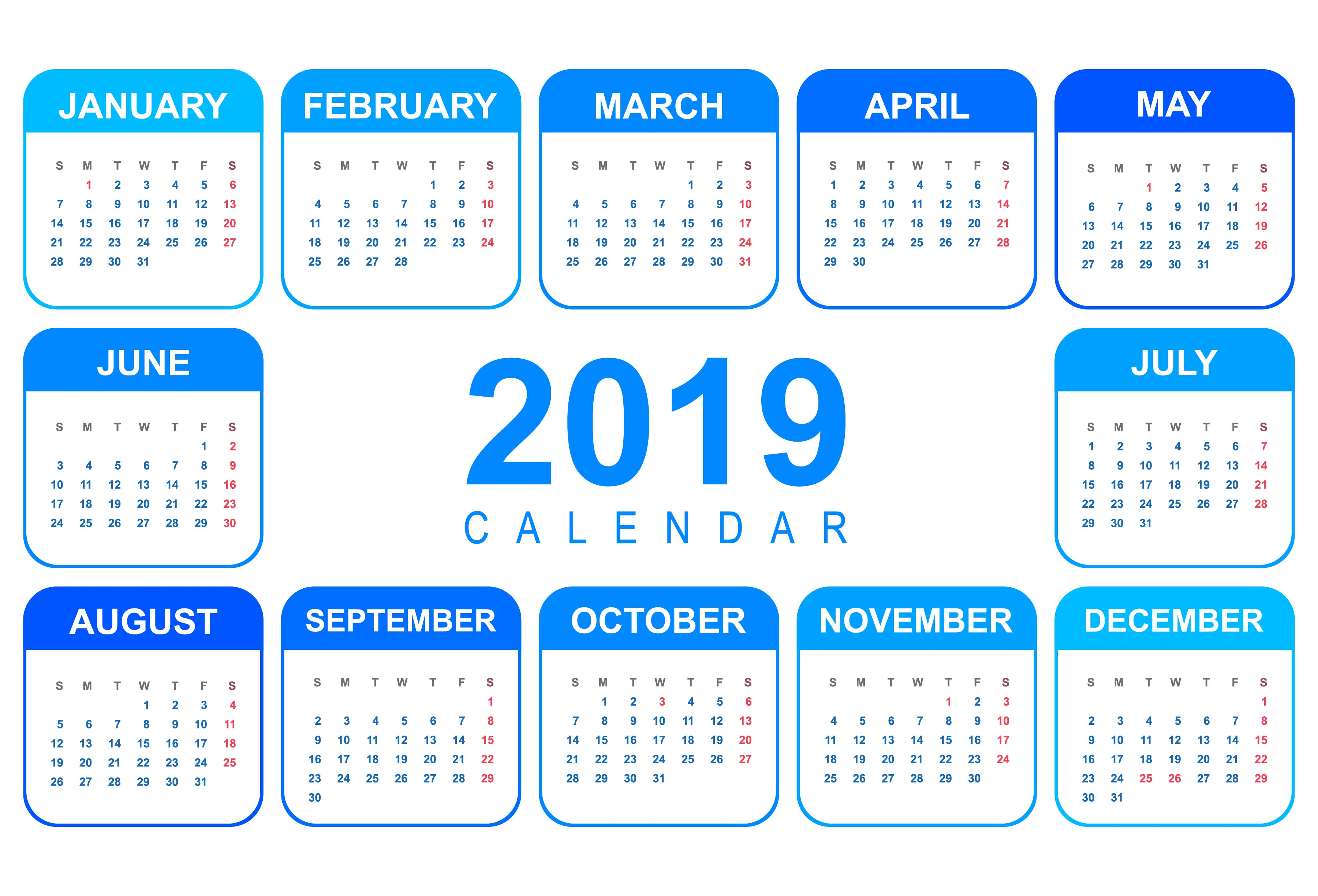 Elegant Calendar colorful 2019 template design - Download ...
