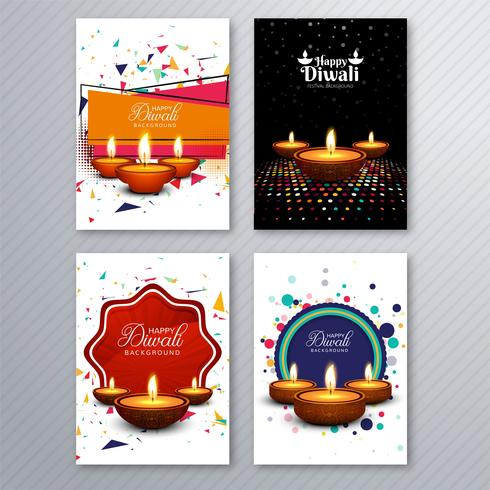 Happy diwali colorful brochure template collection vector