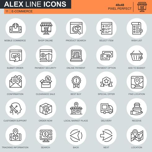 Dünne Linie Online-Shopping und E-Commerce-Icons für Website und mobile Website und Apps festgelegt. Enthält solche Symbole als Online-Zahlung, Support. 48x48 Pixel Perfekt. Bearbeitbarer Strich. Vektor-Illustration.