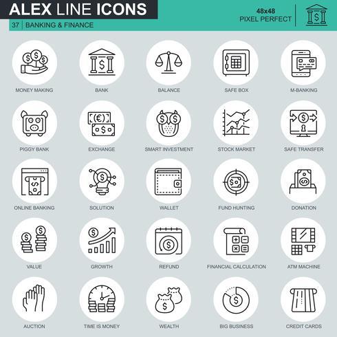 Dünne Linie Bankwesen und Finanzikonen stellten für Website und bewegliche Site und apps ein. Enthält Symbole wie E-Banking, Auktion, Finanzwachstum. 48x48 Pixel Perfekt. Bearbeitbarer Strich. Vektor-Illustration.