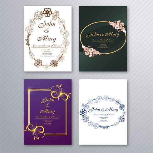 Wedding invitation card template with decorative floral brochure