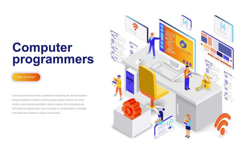 Conceito isométrico do projeto liso moderno dos programadores de computador. Desenvolvimento de software e conceito de pessoas. Modelo de página de destino.