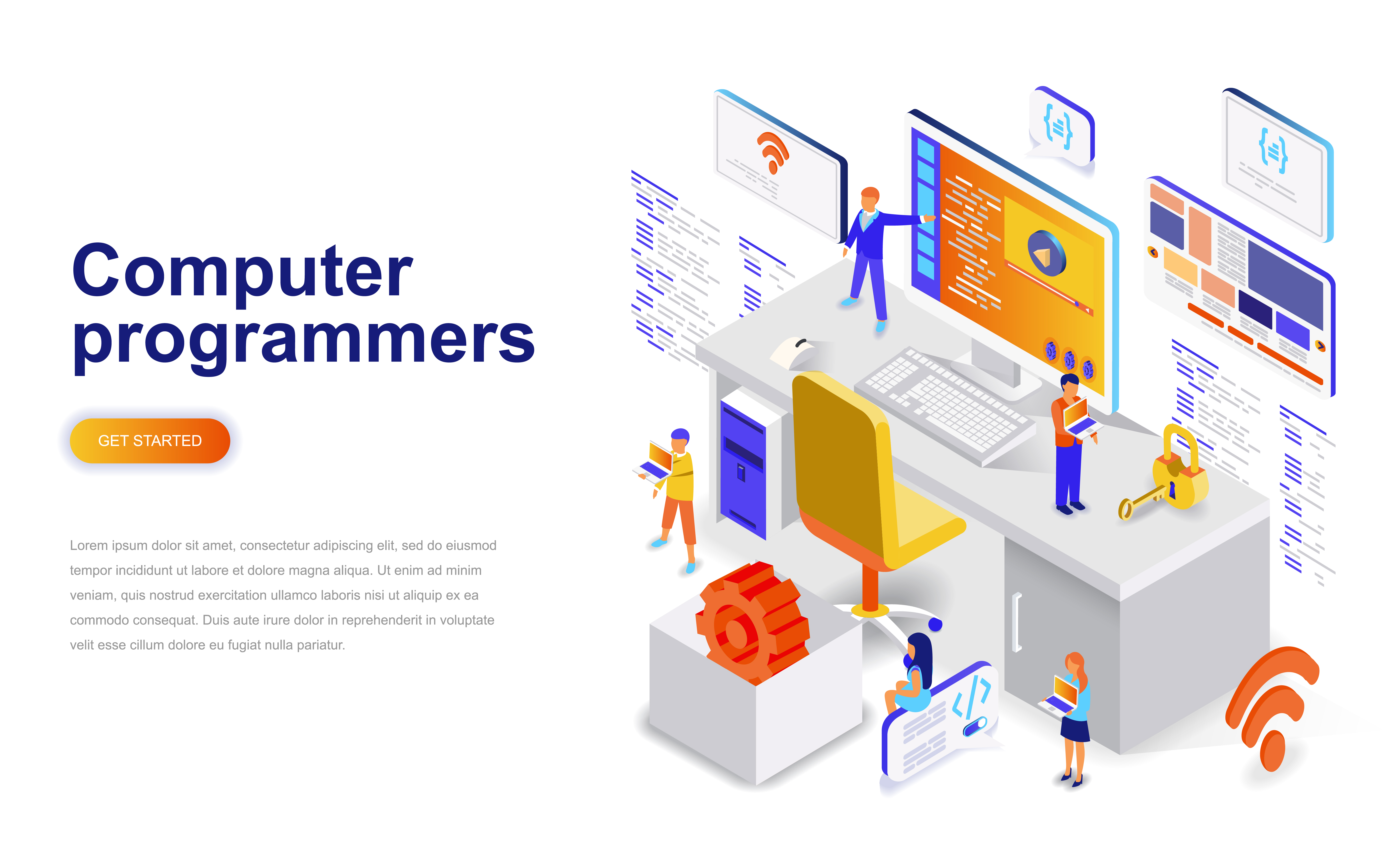 Vector Illustration Web Designs: Computer Programmers Modern Flat Design Isometric Concept