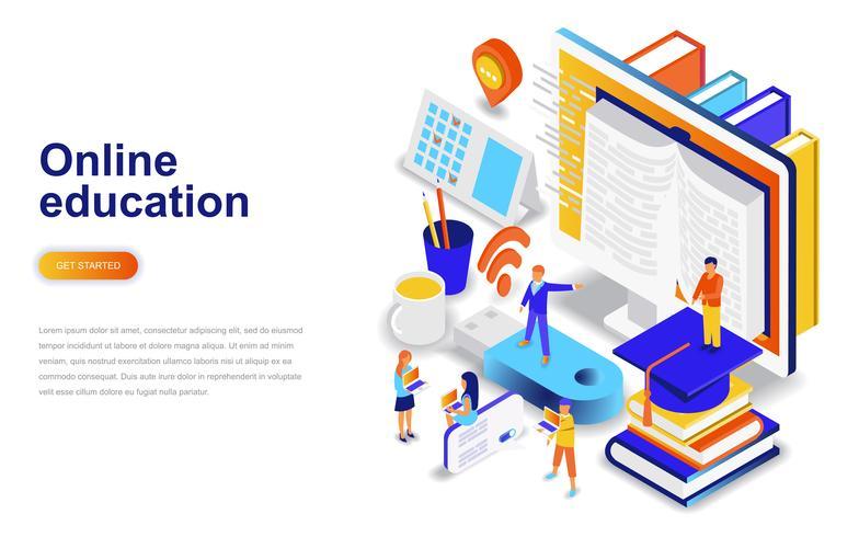 Online utbildning modern platt design isometrisk koncept. Lärande och människokoncept. Målsida mall.
