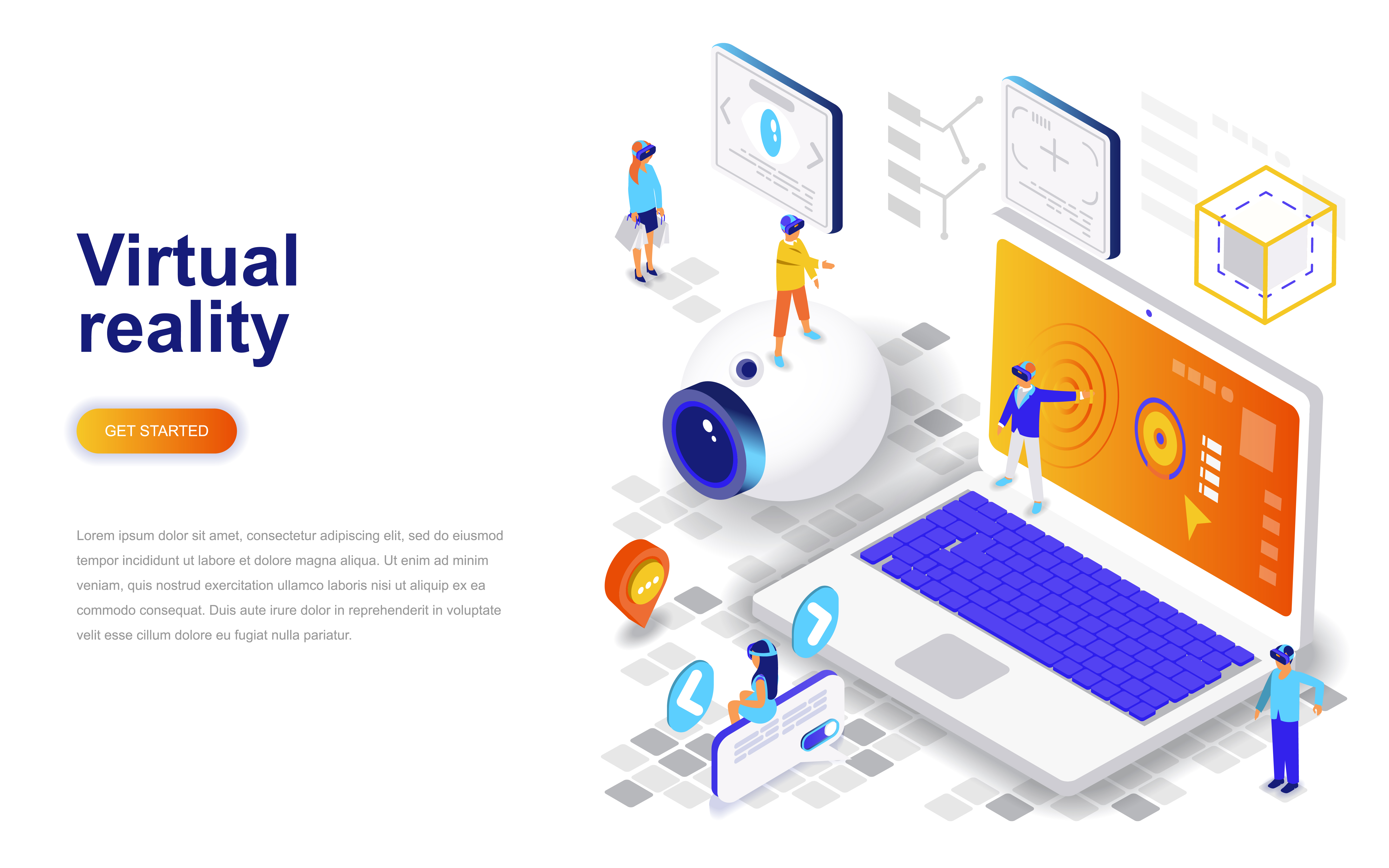 Virtual augmented reality glasses modern flat design isometric concept - Download Free Vectors ...