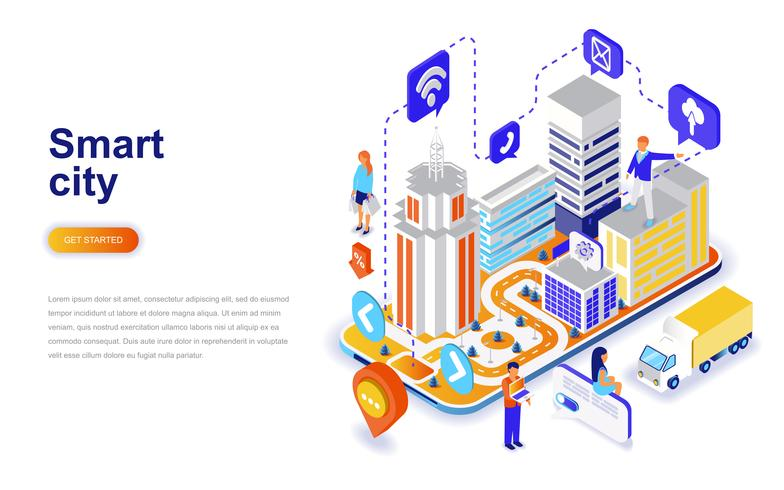 Slimme stads moderne vlakke ontwerp isometrische concept. Architectuur en mensen concept. Bestemmingspaginasjabloon.