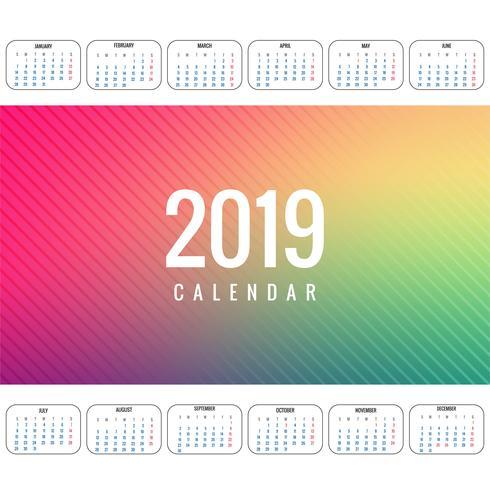 Design de modelo elegante 2019 calendário colorido