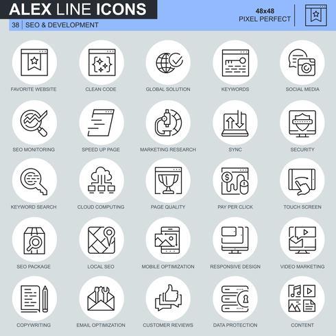 Dünne Linie seo und Entwicklungsikonen stellten für Website und bewegliche Site und apps ein. Enthält Symbole wie Clean Code, Datenschutz, Überwachung. 48x48 Pixel Perfekt. Bearbeitbarer Strich. Vektor-Illustration.