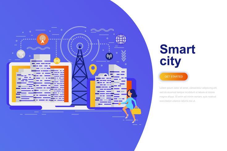 Bannière web de ville intelligente concept plat moderne avec le caractère décoré de petites personnes. Modèle de page de destination.