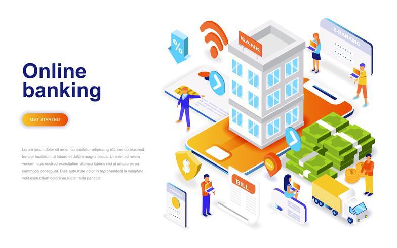 Online bankieren moderne platte ontwerp isometrische concept. Elektronisch bank en mensenconcept. Bestemmingspaginasjabloon.