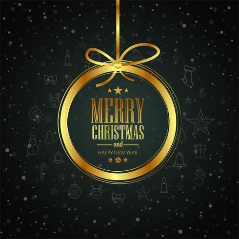 Cartão de feliz Natal com vetor de fundo bola brilhante