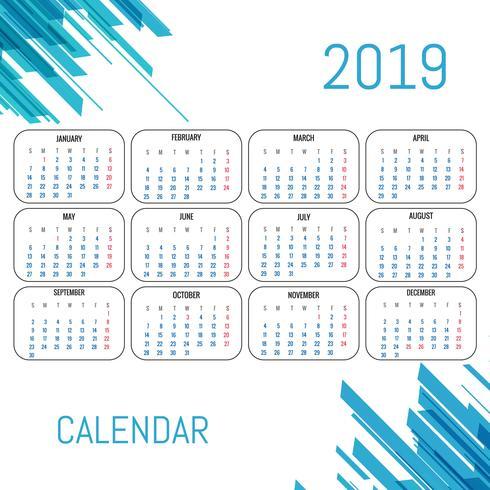 Modernen Kalender 2019 Vorlage Vektor-Design