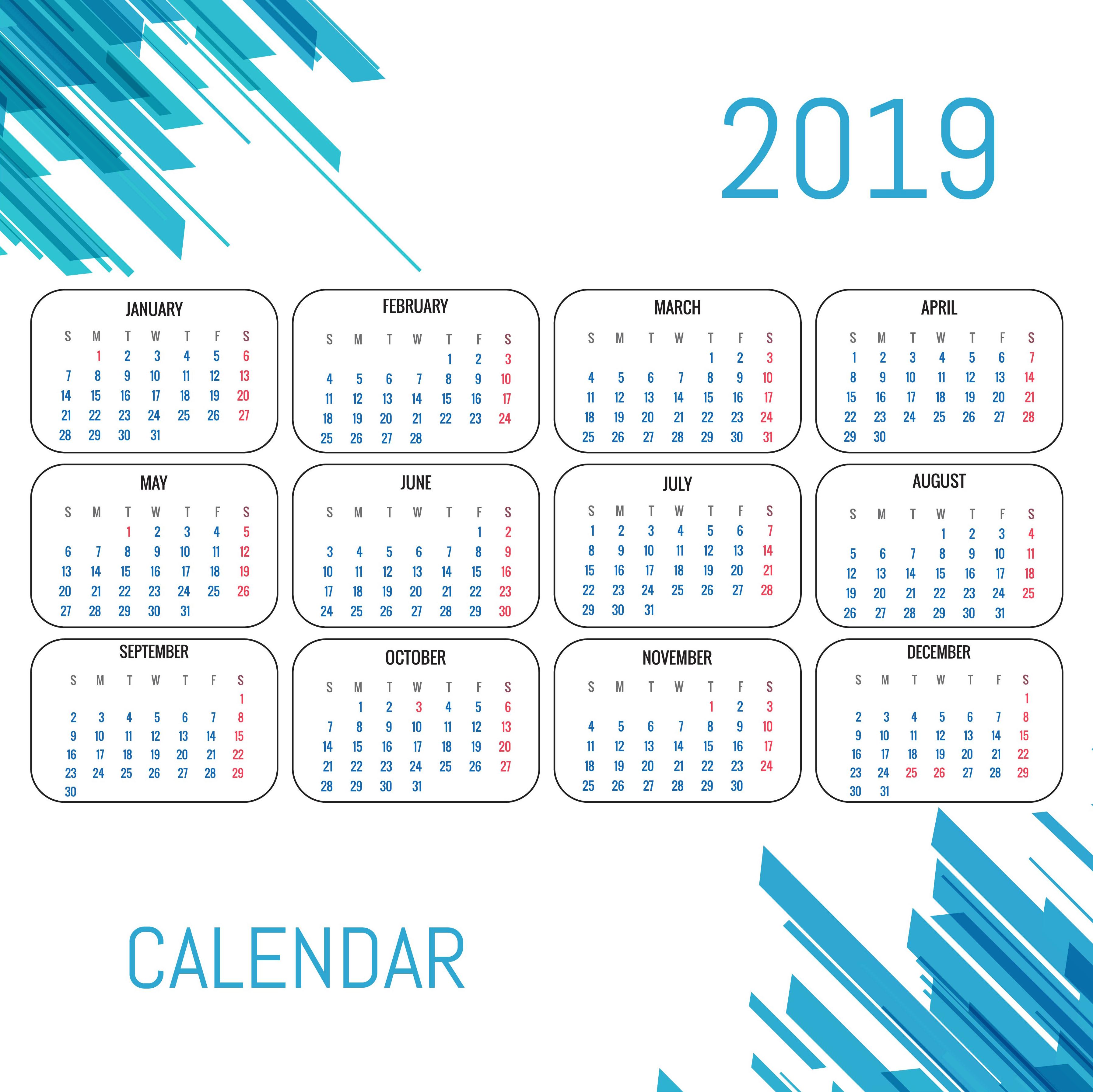 modern calendar 2019 template vector design download. Black Bedroom Furniture Sets. Home Design Ideas