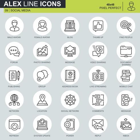 Rede de internet de linha fina e ícones de redes sociais para site, site móvel e apps. Contém ícones como Avatar, Fórum, Chat. 48x48 Pixel Perfeito. Curso editável. Ilustração vetorial.