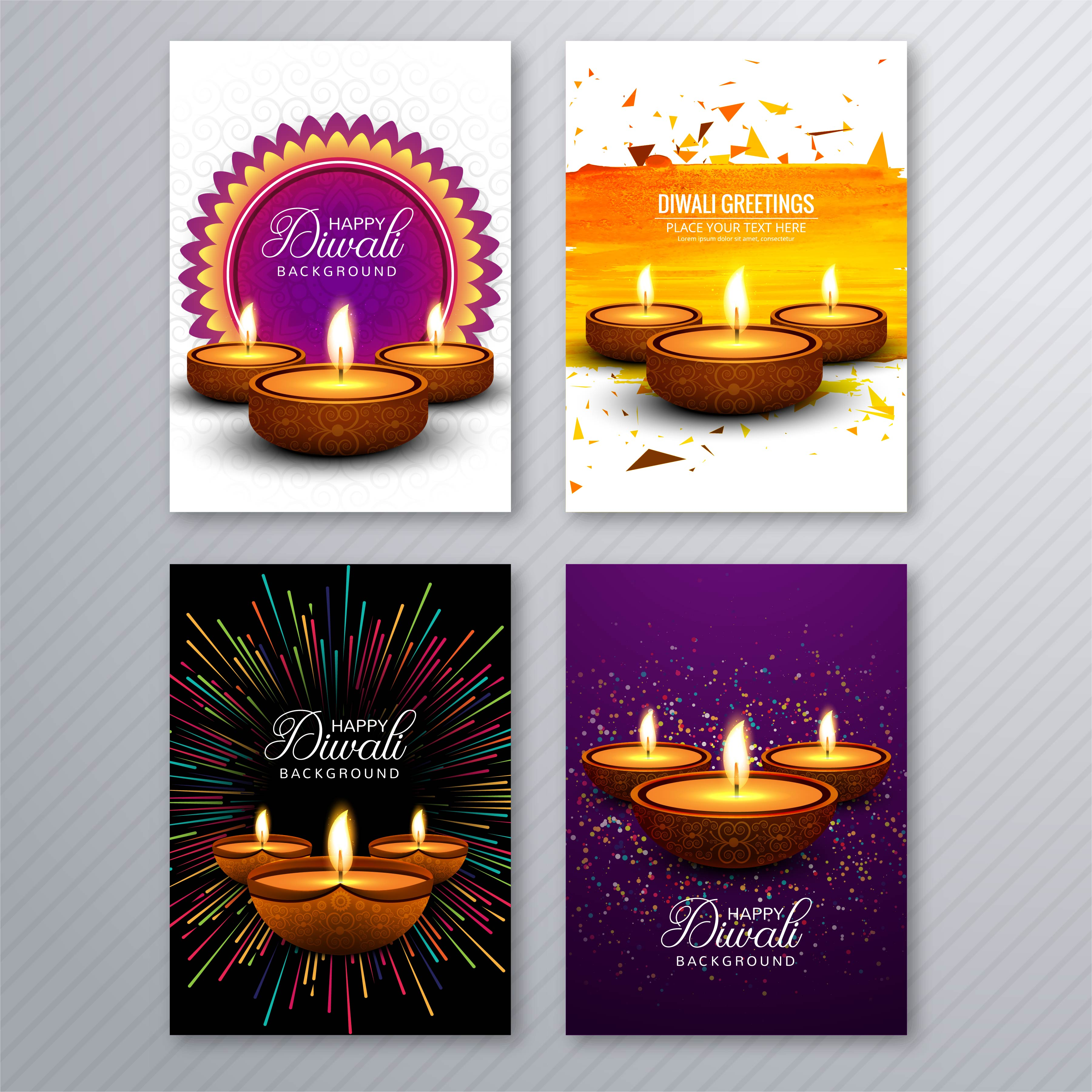 beautiful diwali greeting card template brochure set