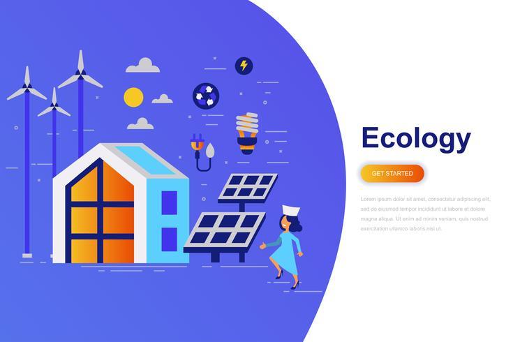Bandera plana moderna del concepto de la ecología con el carácter adornado de la pequeña gente. Plantilla de página de aterrizaje.