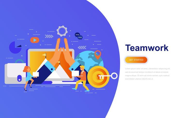 Trabalho em equipe e negócios modernos plana conceito web banner com caráter de pessoas pequenas decorados. Modelo de página de destino.