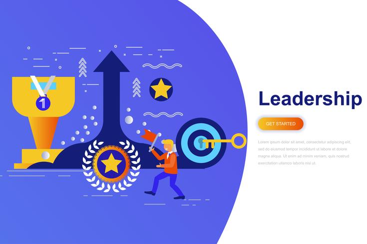 Leadership and businessman modern flat concept web banner