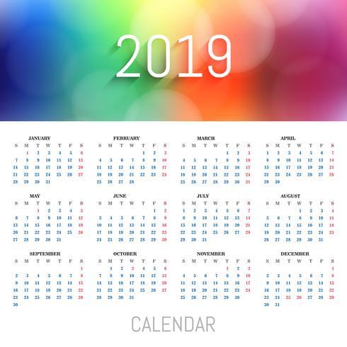 Hermoso fondo colorido plantilla de calendario 2019