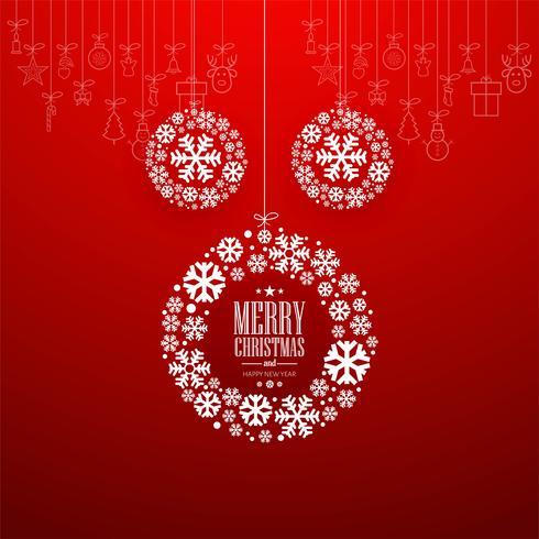 Dekorativ God julkula med röd bakgrund