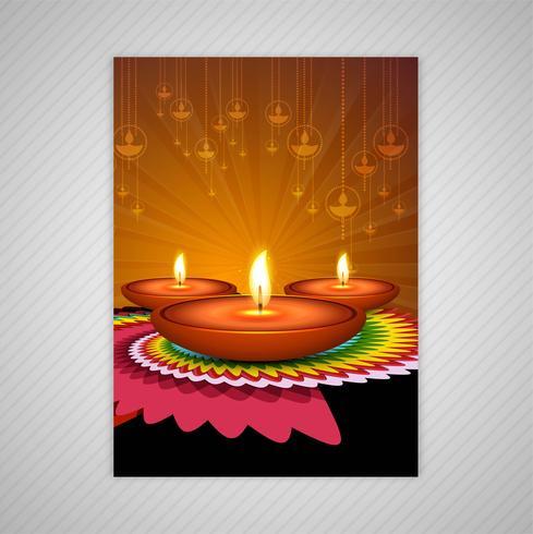 Beau modèle de conception de modèles de brochures colorées diwali heureux