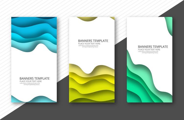 Papercut colorful banner set template design