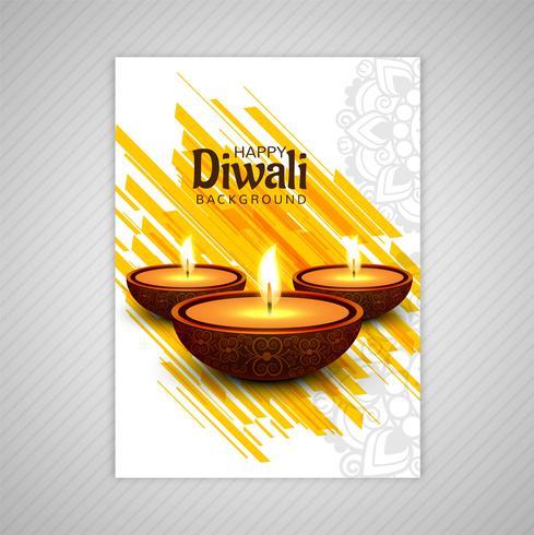 Modèle de vecteur de brochure de carte de voeux diwali élégant ornement