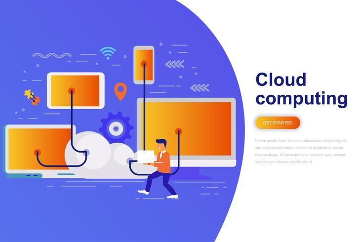 Cloud computing moderne platte concept webbanner met ingerichte kleine mensen teken. Bestemmingspaginasjabloon.