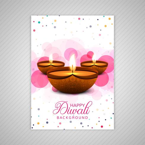 Affiche avec un diya pour la conception de modèle de flyer coloré de diwali