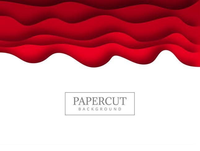 Papercut rouge abstrait avec fond de vague