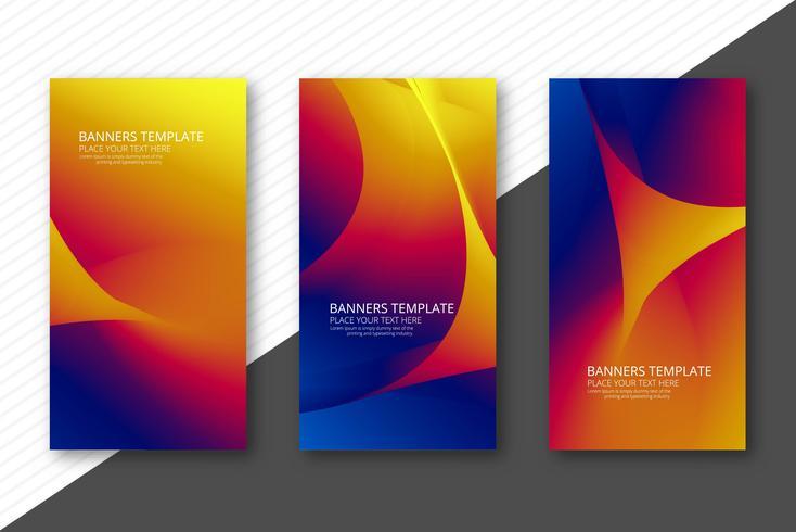Banners ondulados coloridos abstractos set diseño de plantillas vector