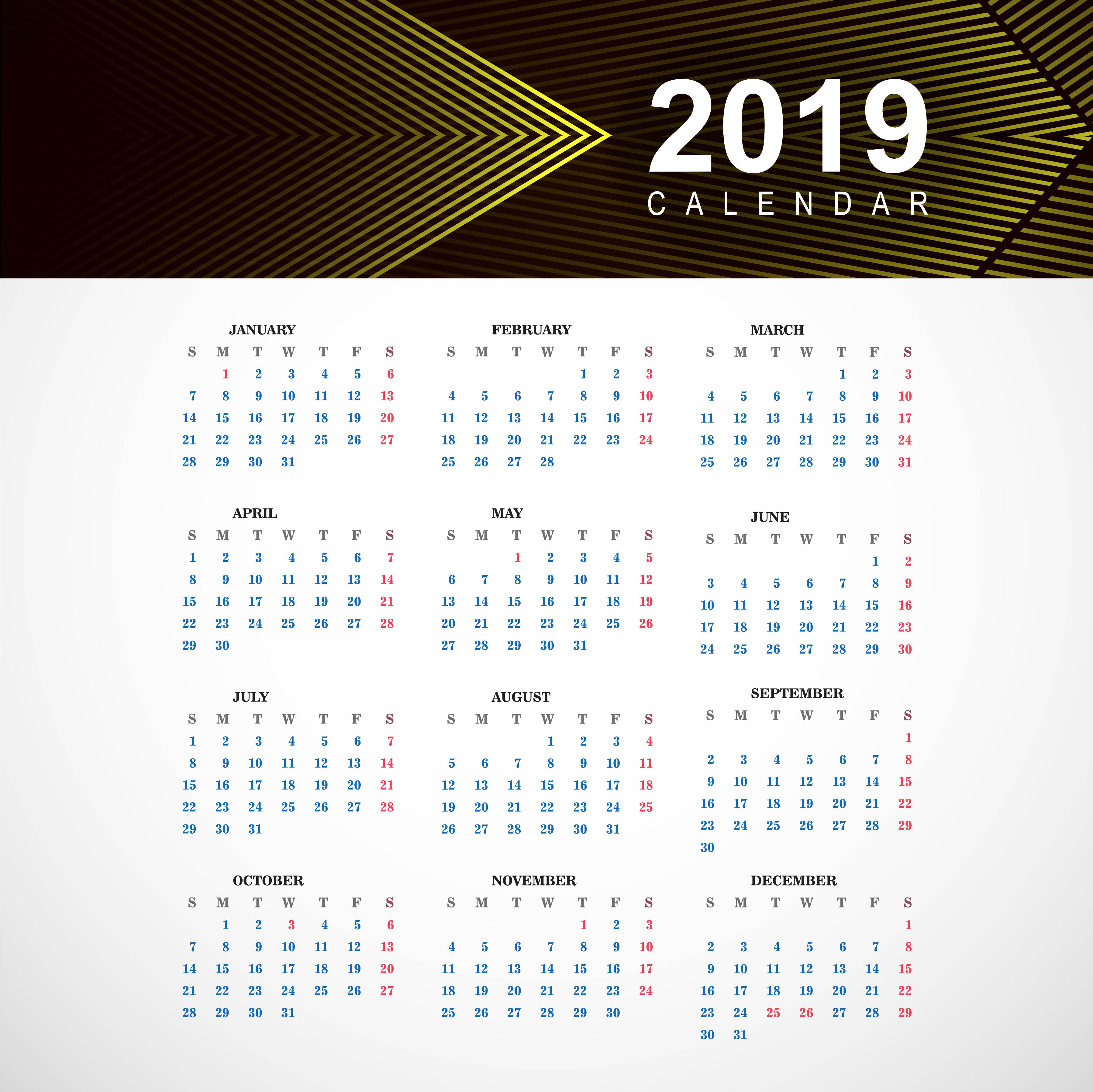 abstract calendar colorful 2019 template with geometric