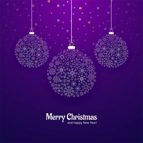 God jul hälsningskort med snöflingor bollar bakgrund