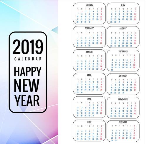 Calendrier 2019 Modèle avec fond polygone coloré