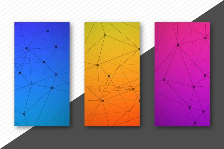 Modern kleurrijk geplaatst ontwerp van technologiebanners malplaatje vector