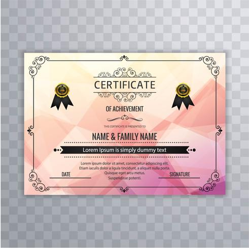 Abstract beautiful certificate template design vector