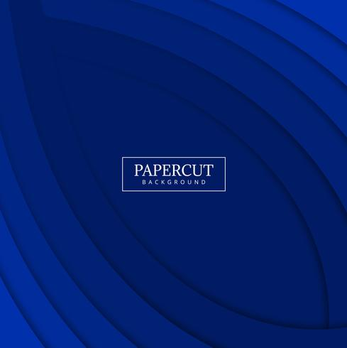 Papercut blue wave colorful design vector