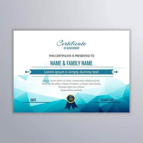 Resumen hermoso certificado plantilla diseño vector