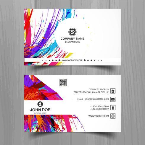 Abstrakt stilfull våg färgrik visitkort malldesign